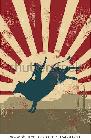 Red Rodeo Cowboy Bull Rider Retro Stock photo © patrimonio