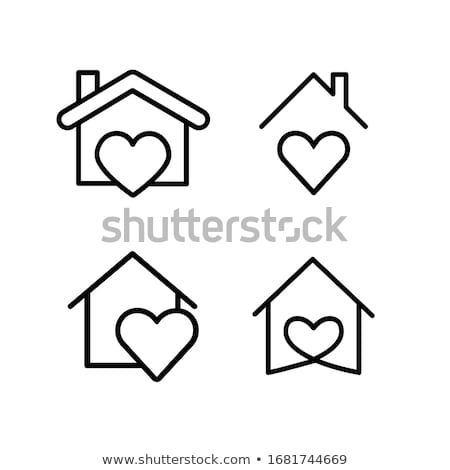 stay home and safe with house and heart symbol stock photo © sarts
