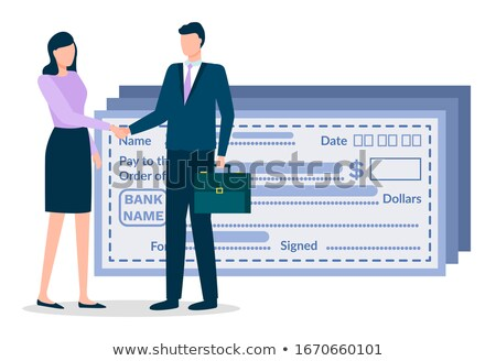 Man and Woman on Business Meeting, Bank Paycheck Stock photo © robuart