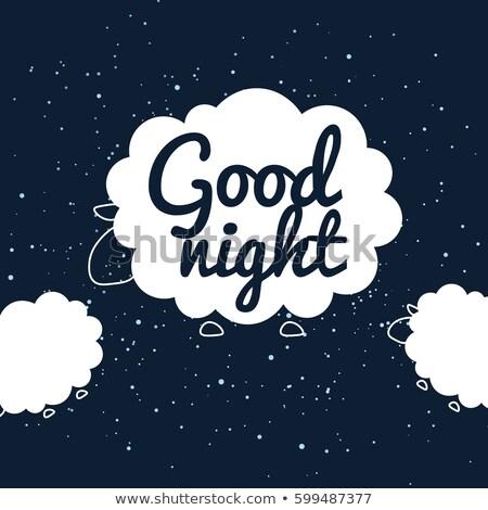 Iyi gece afiş koyun yatak zaman Stok fotoğraf © barsrsind