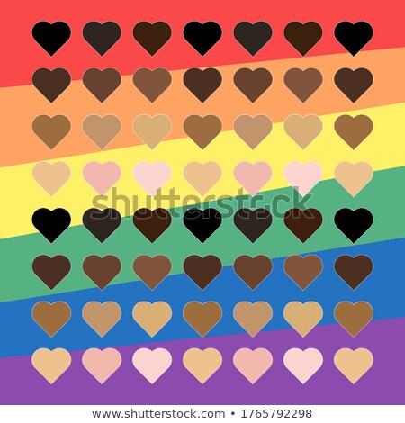 Noir Rainbow coeur fierté vecteur égalité Photo stock © beaubelle