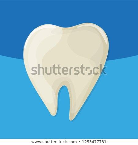 Yellow bad ill teeth. Vector cartoo nstyle. Blue background for dental clinic Stock photo © natali_brill