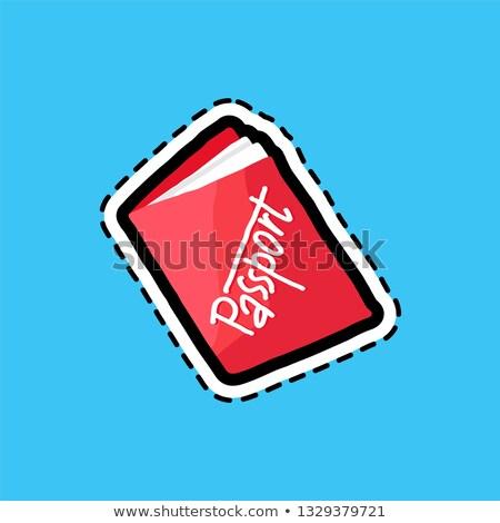 Passport flat color dash line sticker Stock photo © barsrsind