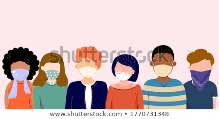 Group of people wearing medical masks to prevent disease, flu, air pollution, contaminated air, worl Stock photo © robuart