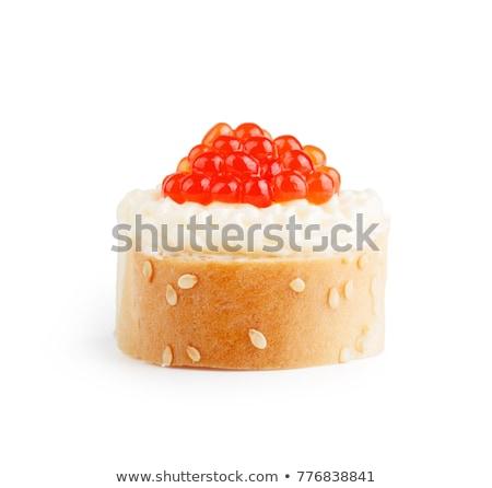 szendvicsek · piros · ikra · fehér · tányér · hal - stock fotó © ruslanomega