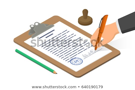 document · crayon · contrat · bleu · cap · bureau - photo stock © KonArt