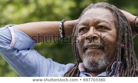 férfi · fiatal · afrikai · színes · zöld · portré - stock fotó © poco_bw