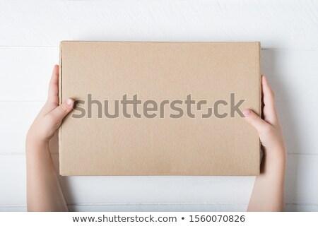 Gyerekek karton egy lány egy fiú tart Stock fotó © pkdinkar