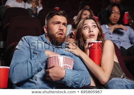 çift sinema film tiyatro korkmuş Stok fotoğraf © dacasdo