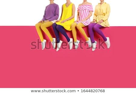 Feminino pernas meia-calça sapatos isolado branco Foto stock © g215