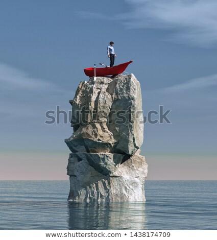 adam · kaya · okyanus · bekleme · kurtarmak · su - stok fotoğraf © elenaphoto