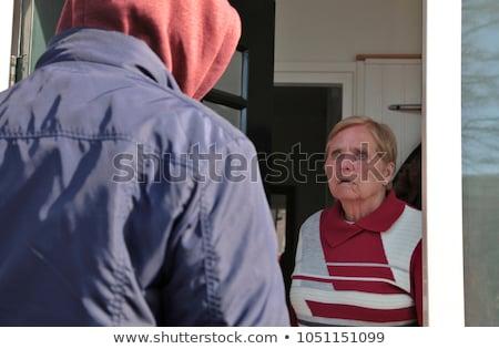 Stockfoto: Deur · senior · vrouw · veiligheid · keten · voordeur