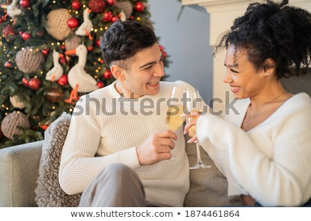 Two couple sitting holding up champagne glasses Stock photo © photography33