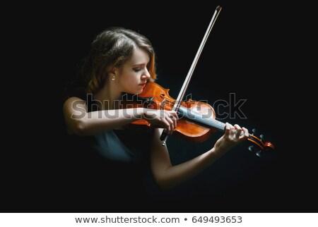 Gyönyörű hegedűművész vörös hajú nő nő szürke gradiens Stock fotó © pekour