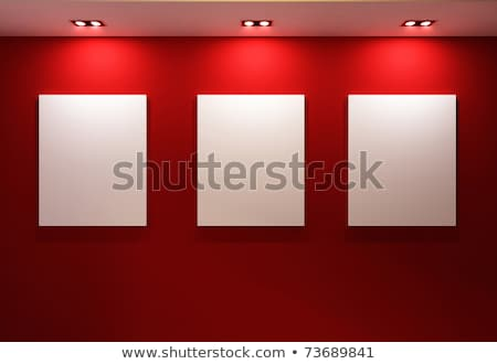 Perspective of gallery interior with empty frames on red walls stock photo © Victoria_Andreas