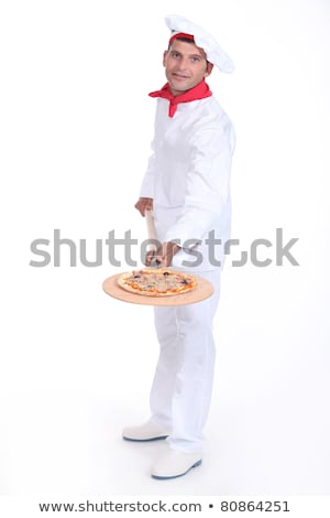 Pizza maker showing off his pizza Stock photo © photography33