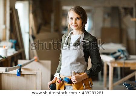 Loodgieter vrouw tools business werknemer plastic Stockfoto © photography33