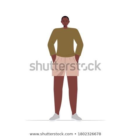 смешные африканских парень позируют шорты Сток-фото © stockyimages