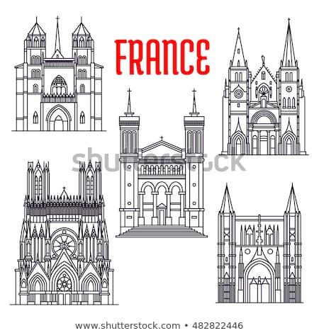 kerk · stad · Frankrijk · hemel · reizen · retro - stockfoto © spectral