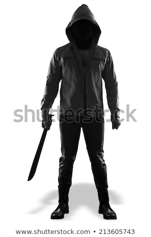 standing man in black with knife Stock photo © shutswis