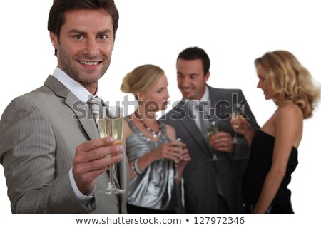 Man toast champagne vrienden chat Stockfoto © photography33