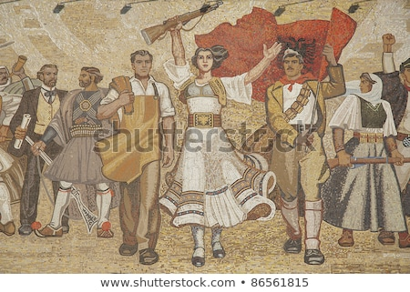 albanian nationalistic mural in tirana albania Stock photo © travelphotography