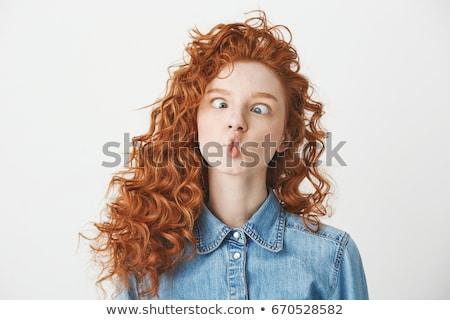 Stock fotó: Vicces · arc · fiatal · nő · izolált · fehér · lány · arc