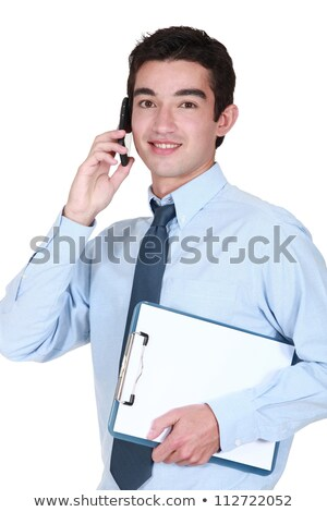 man with clip board making an important call stock photo © photography33