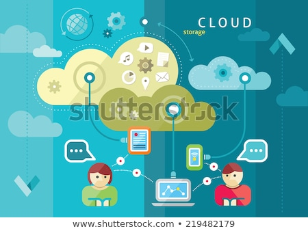 Foto stock: Cloud Computing Concept Background With A Lot Of Icons