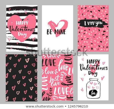 Szett valentin nap üdvözlőlap design boldog kártyák díszek Stock fotó © thecorner
