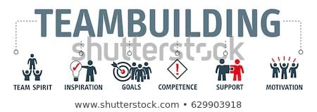 Csapatépítés felirat piros szín szöveg fehér Stock fotó © tashatuvango