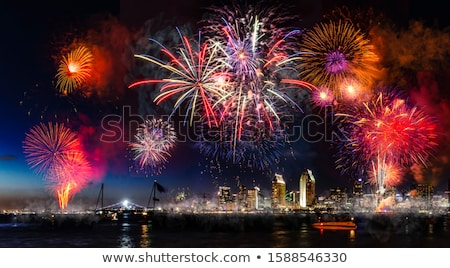 San Diego California City Skyline and Fireworks Celebration from Stock photo © cboswell