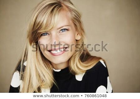Belo olhos azuis mulher vestir preto cinza Foto stock © lunamarina