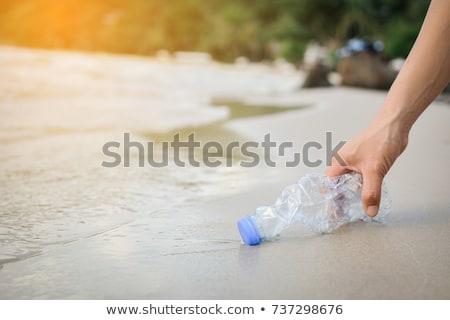 пляж очистки велосипед мусорный ящик Постоянный Blue Sky Сток-фото © cosma