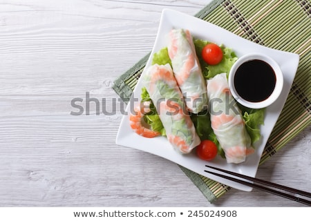 vietnamese rice paper rolls with prawns stock photo © gloszilla