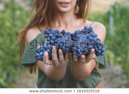 женщину · винограда · красивой · еды · персика - Сток-фото © kurhan