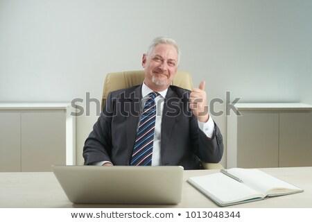 Sakal adam başparmak yukarı büro bilgisayar Stok fotoğraf © sebastiangauert