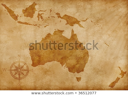 Old map of Australia and New Zealand Stock photo © anbuch