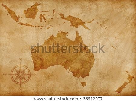 Oude kaart Australië New Zealand papier textuur wereldbol Stockfoto © anbuch
