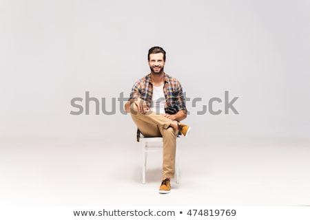 inteligentes · nino · sesión · silla · cute · mano - foto stock © feedough