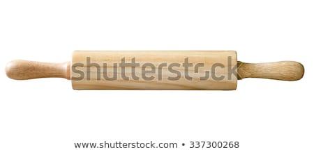 Fából készült sodrófa izolált fehér otthon konyha Stock fotó © karandaev