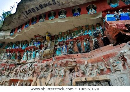 China vechi piatră Buddha părinţi Imagine de stoc © vichie81