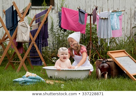 Vintage clothes on drying rack Stock photo © michaklootwijk