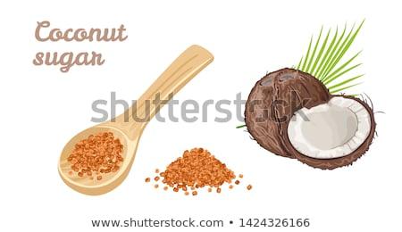 Azúcar cuchara de madera negro textura madera blanco Foto stock © marylooo