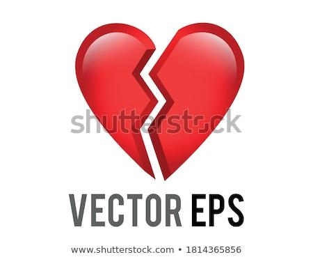 Dia dos namorados quebrado vermelho papel coração velho Foto stock © stevanovicigor