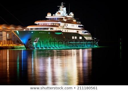 jacht · kikötő · éjszaka · gyönyörű · tájkép · telihold - stock fotó © mcherevan