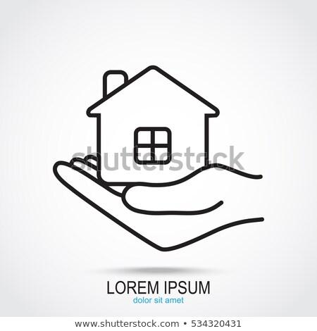 Stock fotó: Női · kezek · tart · ház · ikon · égbolt