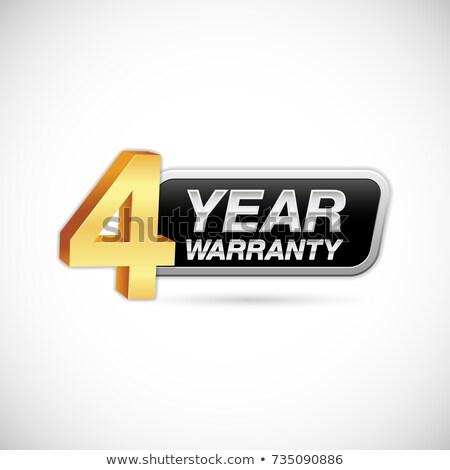 Rok gwarancja złoty wektora ikona przycisk Zdjęcia stock © rizwanali3d