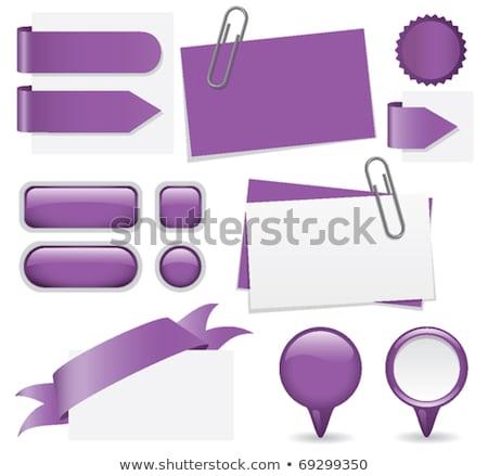 скрепку Purple вектора икона кнопки интернет Сток-фото © rizwanali3d