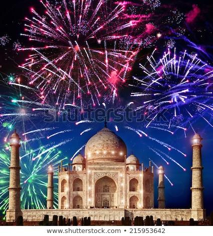 Tűzijáték Taj Mahal illusztráció sziluett robbanás ünneplés Stock fotó © adrenalina